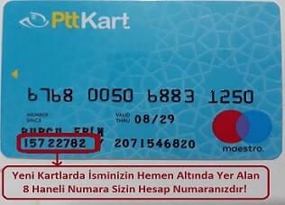 Ptt kart hesap numarası nerde yazıyor