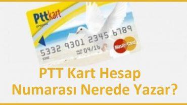 PTT kart hesap numarası nerede yazar