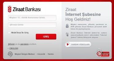Ziraat Bankası internet bankacılığı şifre alma